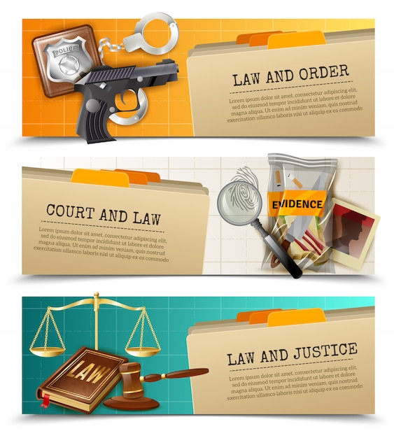 Law justice flat horizontals banners set Free Vector