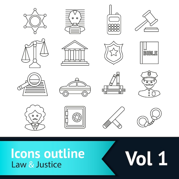 Law and justice icons collection Free Vector