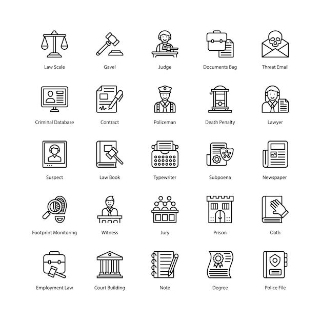 Law and justice icons pack Premium Vector