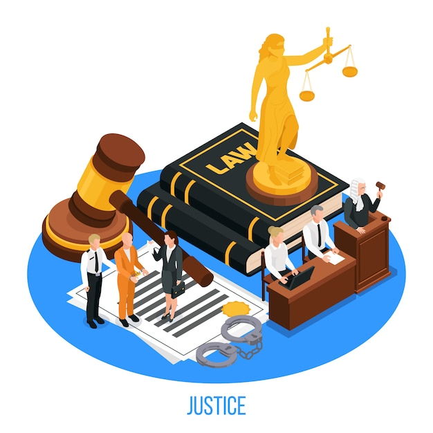 Law justice isometric composition with golden figurine Free Vector