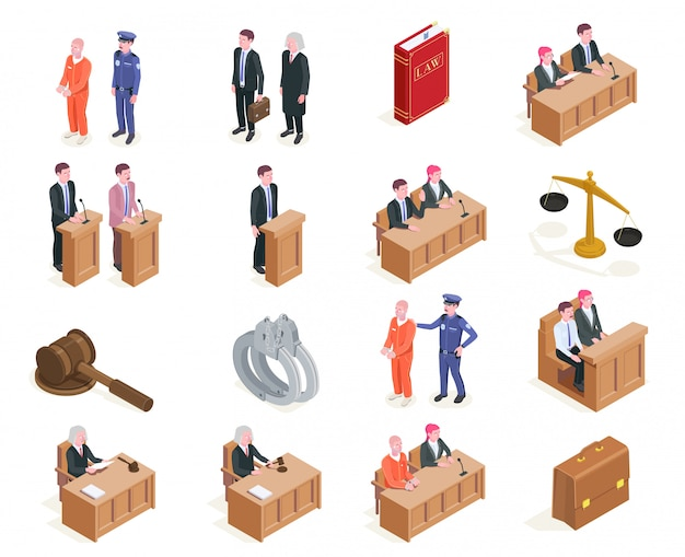 Law justice isometric icons collection of sixteen isolated images with human characters during sitting of court  illustration Free Vector