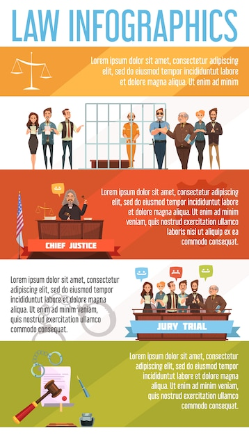 Law and justice legal system  infographic presentation retro cartoon banners set poster Free Vector