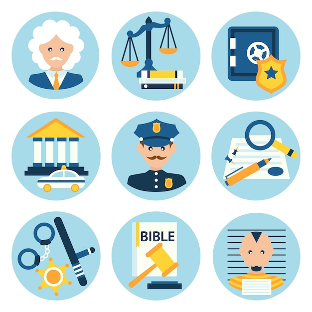 Law justice police icons Free Vector