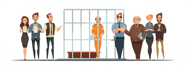 Law and justice retro cartoon poster with sentence announcement and convict behind bars Free Vector
