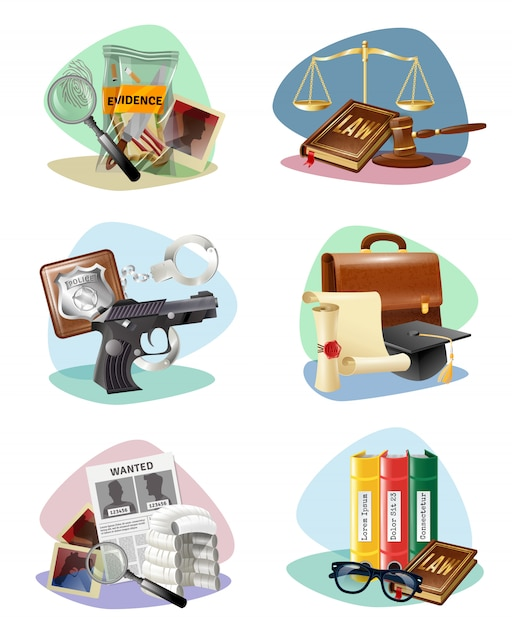 Law justice symbols attributes icons collection Free Vector
