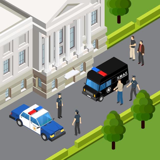 Composizione isometrica nel sistema giudiziario di legge con l'arresto sospetto di crimine dall'illustrazione all'aperto di vettore di estate della scena degli ufficiali di polizia Vettore gratuito