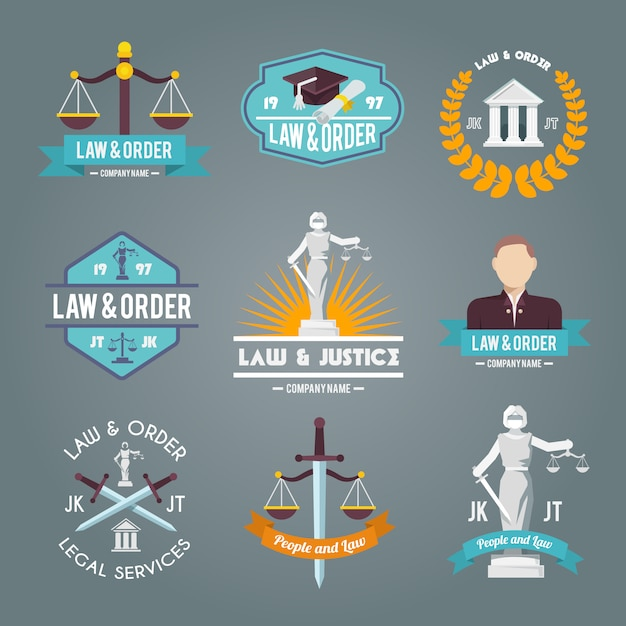 Law labels icons set Free Vector