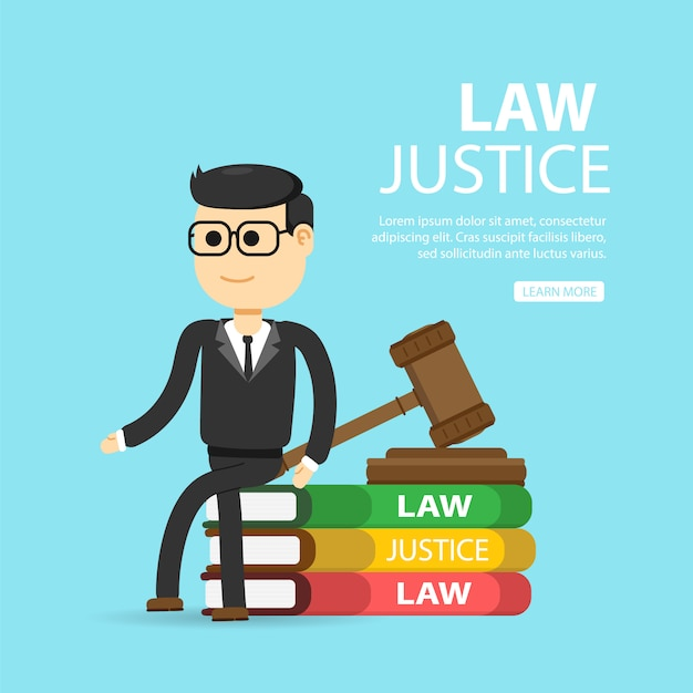 Law, lawyer, business. justice and law concept. Premium Vector