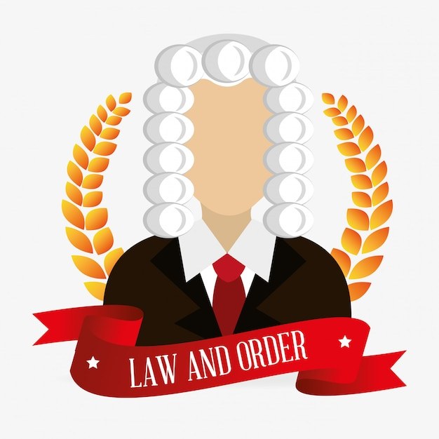 Law and legal justice judge character Free Vector