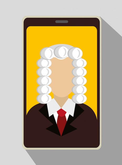Law and legal justice judge on smartphone Free Vector