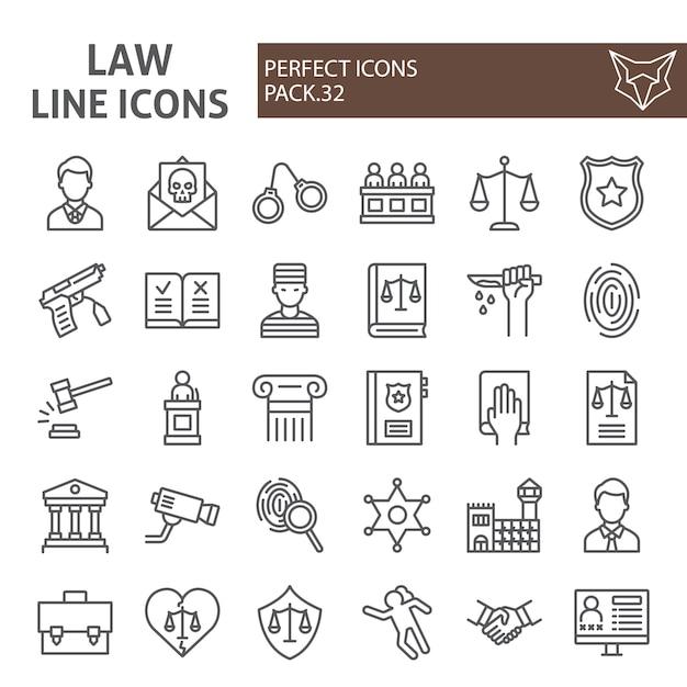 Law line icon set, justice collection Premium Vector