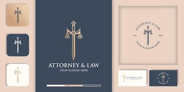 Закон логотип, меч правосудия и визитная карточка Premium векторы