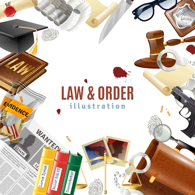 Law and order frame composition poster Free Vector