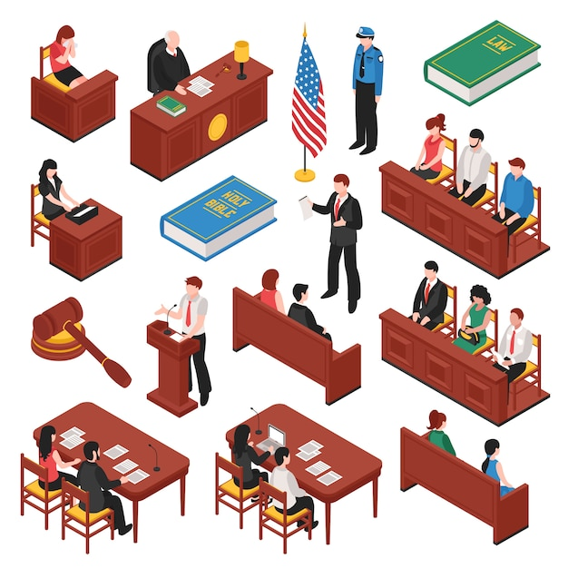 Law and order isometric set Free Vector