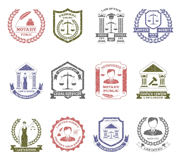 Law and order logo stamps set Free Vector
