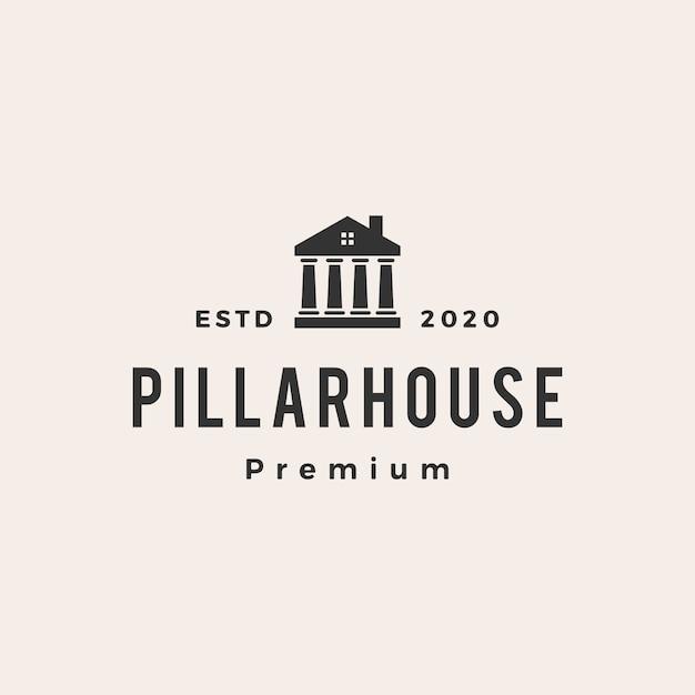 Law pillar house  vintage logo  icon illustration Premium Vector