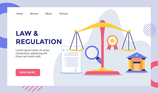Law and regulation scale balance campaign for web website home homepage landing page template banner with modern Premium Vector