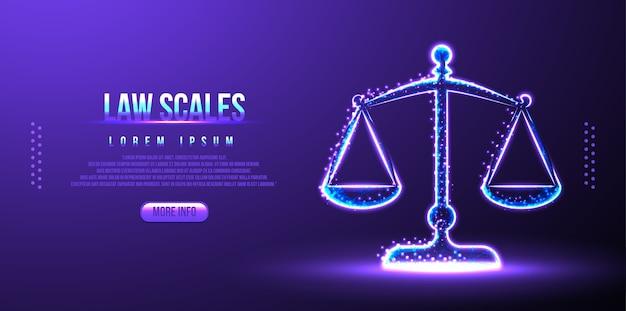 法のはかり、裁判官のバランス、低ポリワイヤーフレーム Premiumベクター