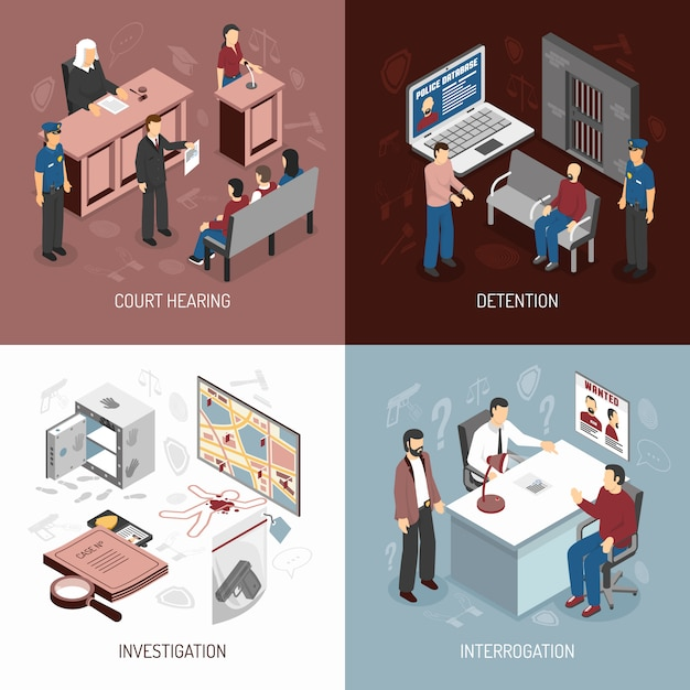 Law system isometric concept Free Vector