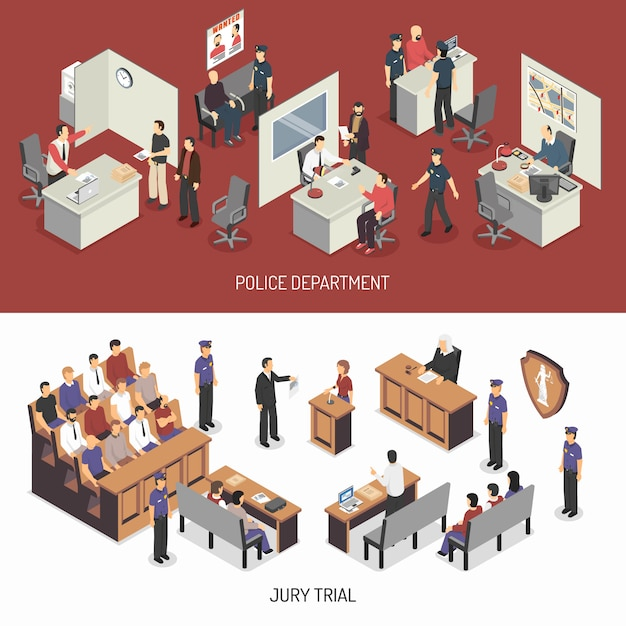 Law system isometric horizontal banners Free Vector