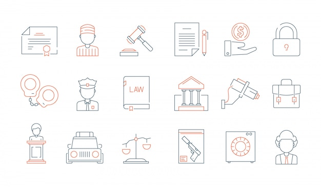 Law thin symbols. licence accounting legal justice lawyer vector linear colored icon collection Premium Vector