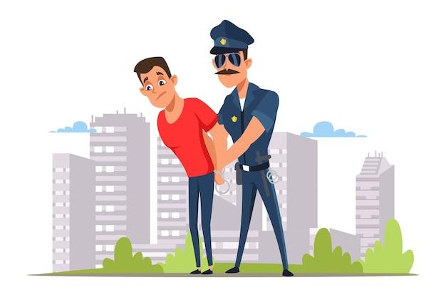 法律ブレーカー逮捕フラットイラスト、サングラスの警官と手錠の漫画のキャラクターの犯罪者。犯罪罰、法執行機関。警察官が無法者を捕まえた。警官の職業 Premiumベクター
