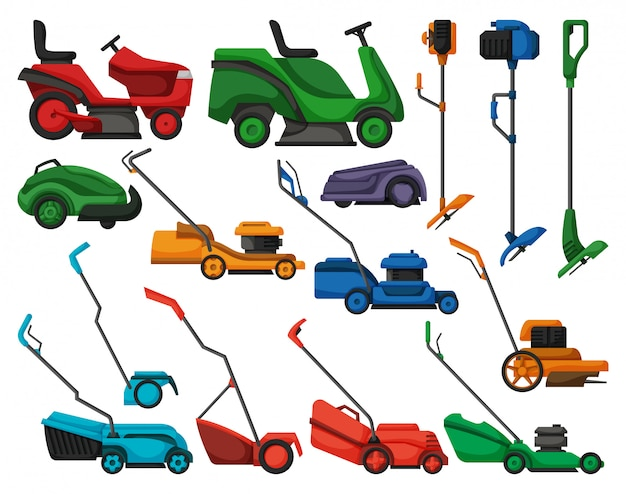Lawn mower  illustration on white background.  cartoon set icon lawnmower.  cartoon set icon lawn mower. Premium Vector