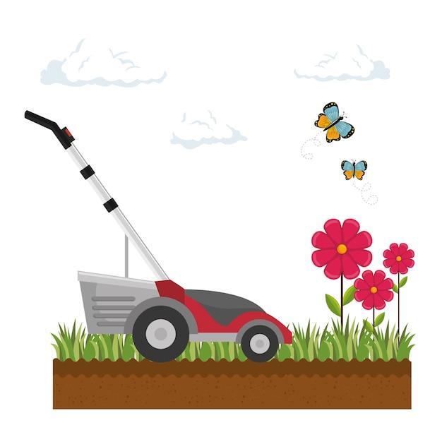 Lawn mower isolated icon Premium Vector