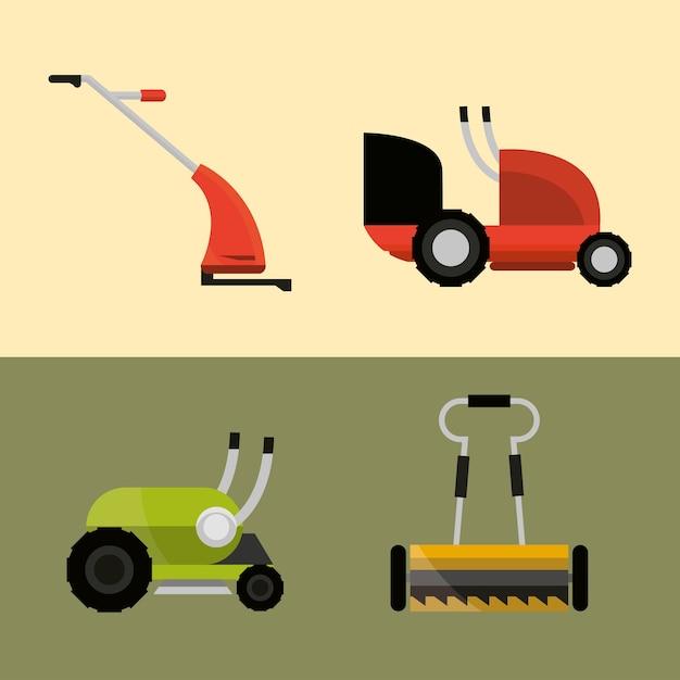 Lawn mowers machine tools different types icons illustration Premium Vector