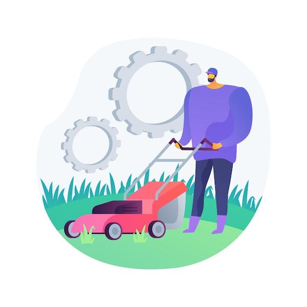 芝刈りサービスの抽象的な概念のベクトル図です。草の刈り取りと片付け、通気と施肥、芝生の除草、園芸サービス、タンポポの除去、抽象的な比喩の吹き付け。 無料ベクター