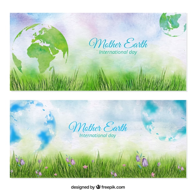 Lawn watercolor banners with world Free Vector