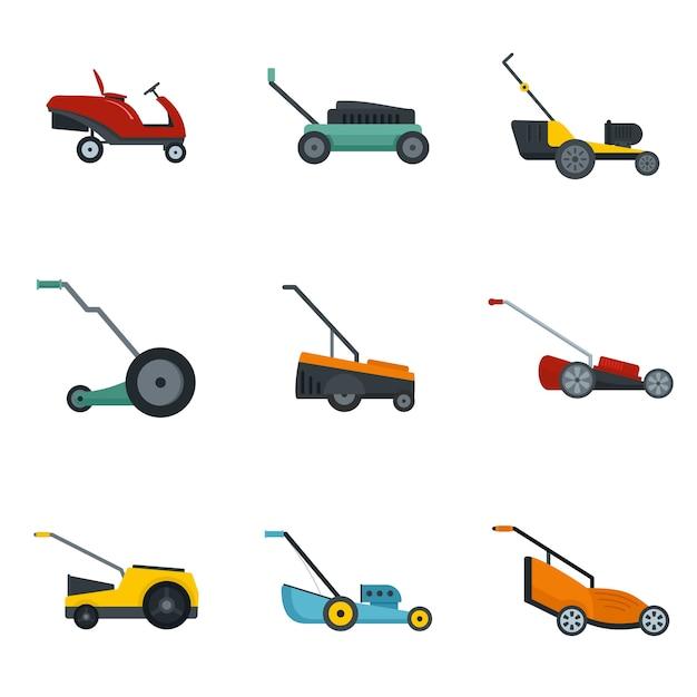 Lawnmower grass garden icons set Premium Vector
