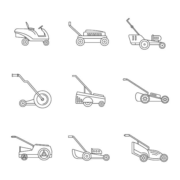 Lawnmower grass garden icons set Premium Vector