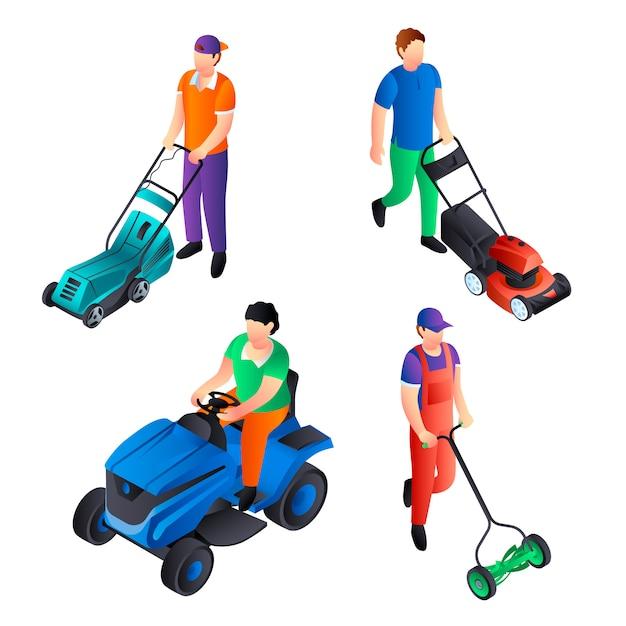 Lawnmower icon set. isometric set of lawnmower Premium Vector