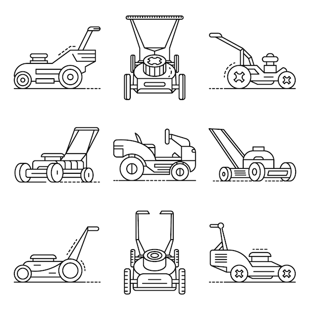 Lawnmower icon set. outline set of lawnmower vector icons Premium Vector