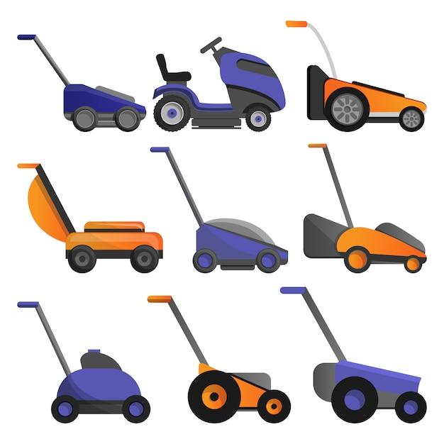 Lawnmower icon set Premium Vector