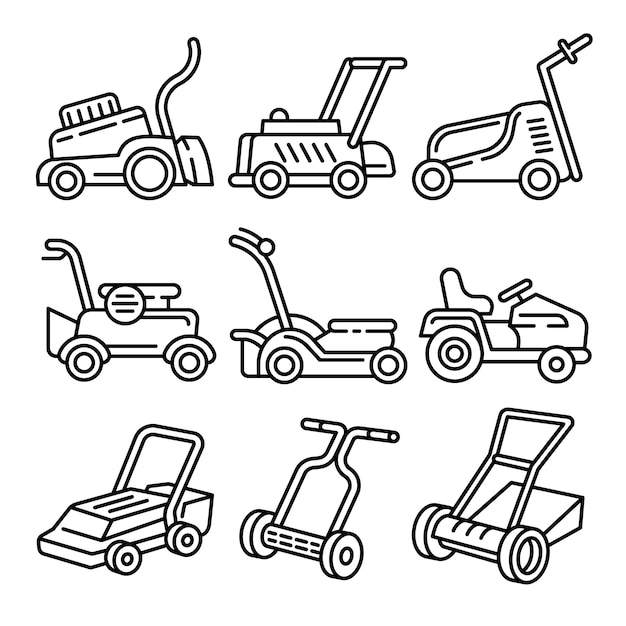 Lawnmower icons set, outline style Premium Vector