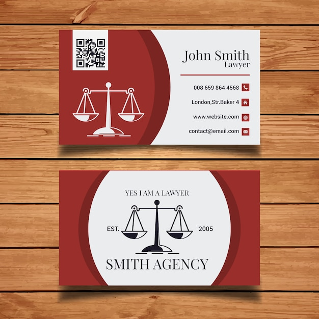 Lawyer business card template Vector Free Download