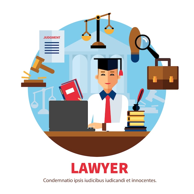Lawyer jurist legal expert illustration Free Vector