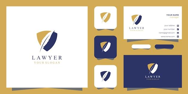 Адвокат логотип и дизайн визитной карточки Premium векторы