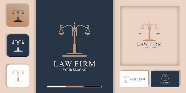 Логотип адвоката, логотип закона полюса и визитная карточка Premium векторы