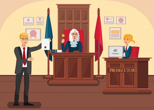 Lawyer providing evidence Premium Vector