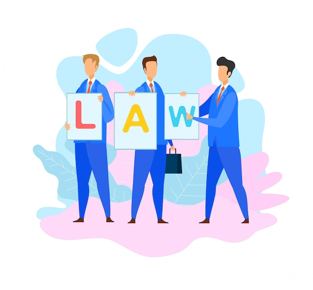 Lawyers holding law Premium Vector