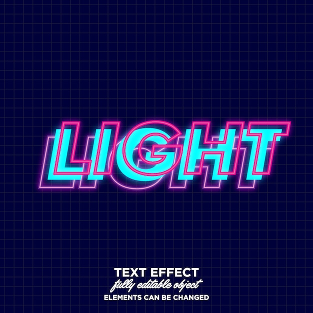 Layered font with glowing effect Premium Vector