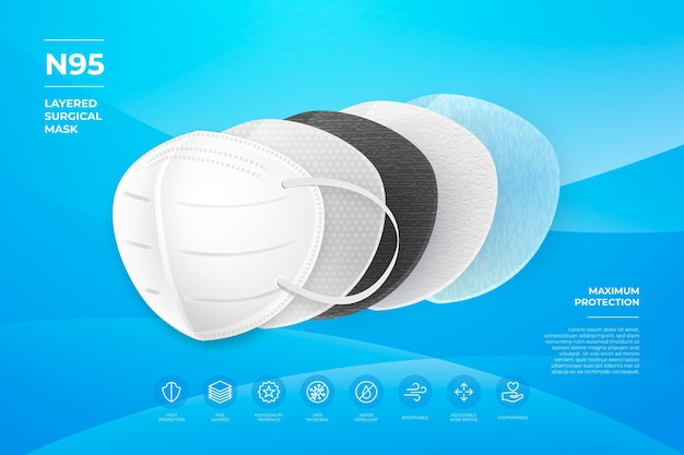 Layered n95 surgical mask concept Free Vector