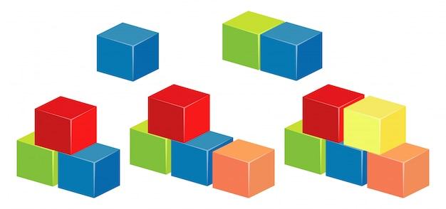 Layers of blocks in different colors Premium Vector