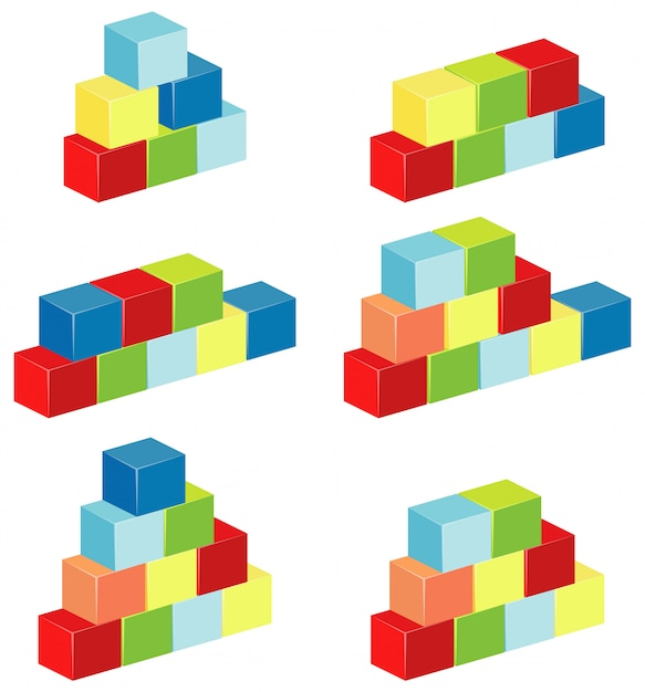 Layers of blocks in different colors Premium Vector