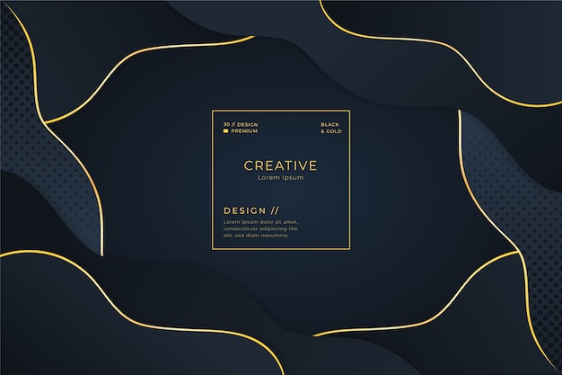 Layers of dark background and golden curvy lines Free Vector