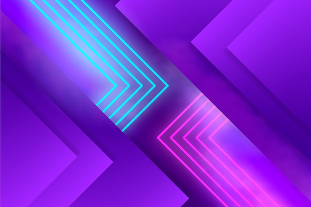 Layers of geometric shapes and neon lights Free Vector