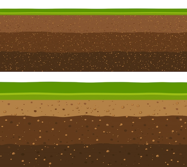Layers of grass with underground layers of earth. Premium Vector